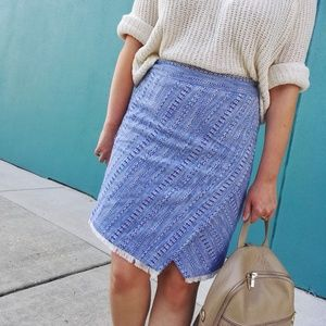 Blue Tweed Wrap Skirt